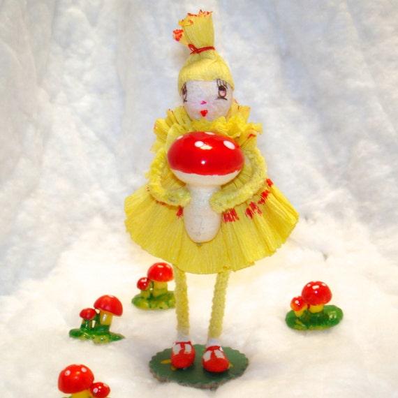 Spun cotton garden sprite chenille ornament by jejemae   OOAK vintage craft