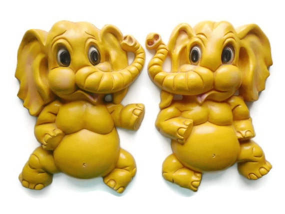 1973 Homco Yellow Elephant Wall Plaque Pair