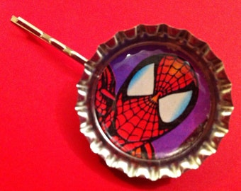 Handmade Vintage Spider Man Hair Slide