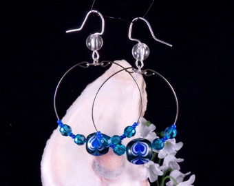 Blue Hoop Earrings Glass Beaded Hoop Earrings Blue Dangling Earrings Handmade Blue Costume Jewelry Made in Montana Made in USA Free Shipping