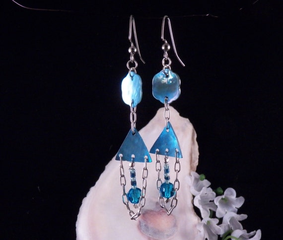 Blue Earrings - Mothe of Pearl Earrings - Shell Earrings - Blue Dangling Earrings - Blue Handmade Costume Jewelry Free Shipping Made in USA