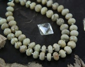 Goshenite : with AB Coating, Faceted Rondelle, 28 beads / Large Hole for 1mm Elastic / 9x6mm / Earthy, Craft, Jewelry Making Supplies
