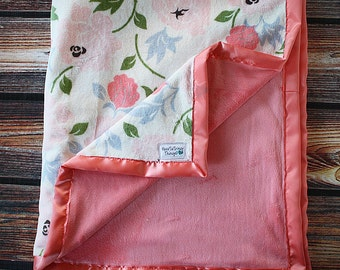 Floral minky, coral minky, baby girl minky,Adult minky blanket, Womens minky blanket, floral blanket,  pink blanket, baby girl blanket,