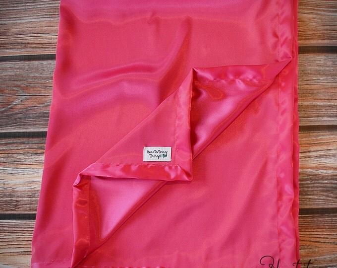 Satin Blanket, silky blanket, woobie, hot pink satin, hot pink blanket, lovie, all silk blanket, minky blanket, baby blanket, baby gift