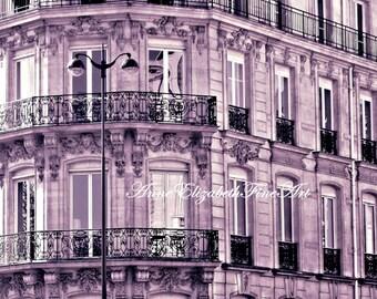 Paris Photograph- Parisian Home Art-Paris Print- Purple- Rooftops- French- Preppy -Chic-Pastels-Lavender-Nursery-Dorm Decor-Preppy-Balconies