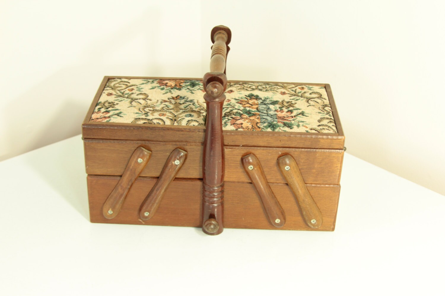 Vintage Wooden Accordion Sewing Box With Tapestry Top