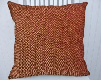 Red Chenille Decorative Pillow Cover- 18x18 or 20x20 or 22x22 Throw Pillow--Red and Gold Accent Pillow