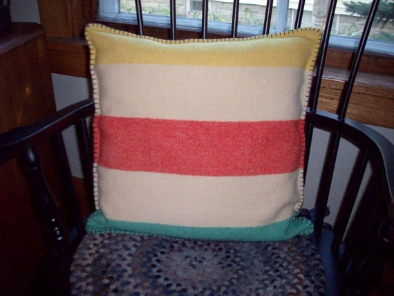 Hudson Bay Blanket Pillow Cabin Decor by maggieanns on Etsy