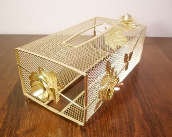 Gold TISSUE Box Gold Gilt Filigree Vanity Tissue Box Gold Roses