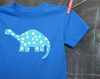Blue Dinosaur Applique T-shirt, Dinosaur Shirt, Appliqued Shirt, Short Sleeve Royal Blue, Toddler Sizes, Toddler Clothing, Made-to-Order