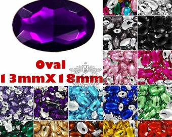 20 -100 PCS 13mm X 18mm Assorted Color Oval Rhinestone Pointed Back Mix Oval Crystal Green Purple Cabochon Necklace Acrylic Gem Supply VD13