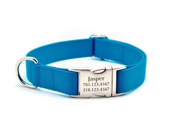 Laser Engraved Personalized Buckle Webbing Dog Collar - HURRICANE BLUE