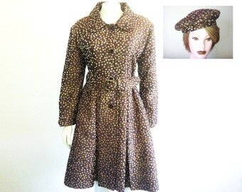 Dress Coat - a Handmade Brown Polka Dot Coat with Hat and Belt Accessories