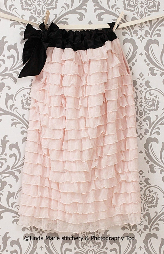 Blush Pink, White, Red Ruffles and Black Satin Tie Dress. Now available in Off-White with Champagne tie