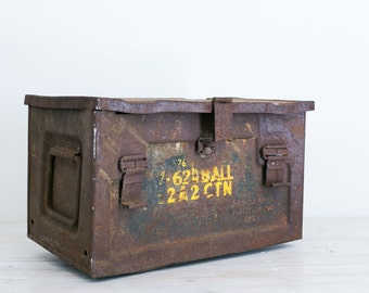 vintage industrial 1940s metal ammunition crate with handles