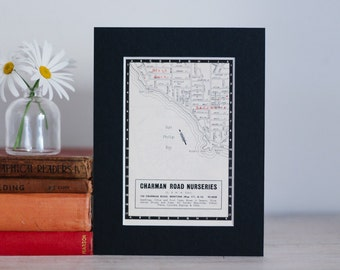 """1950s map of Melbourne suburbs, Australia - Black Rock and Beaumaris, ready to frame, 6 x 8"""""""