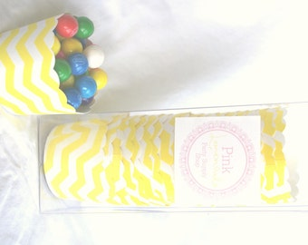 Small Yellow Chevron-Boxed-Nut/Candy/Baking Cups-20ct--Parties--cupcakes-gumballs-snacks