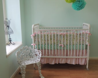 Beautiful Boutique Cribset with a Shabby Chic Feel using Leanika, Pink Aqua Crib Bedding, Pink Aqua Baby Bedding