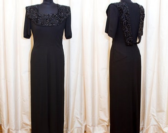 1940s Dress // Black Full Length Evening Gown with Sequin and Beaded Collar