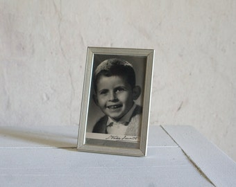 Vintage Studio Photo Frame // 1960 French Boy Photograph // Metallic Silver Portrait // Boy Child Father's day Gift for Dad