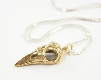Bird Skull Pendant Necklace - Mixed Metal Bronze Gold with Sterling Silver 20 Inch Chain