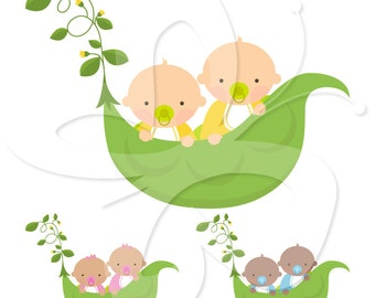 Twins Clip Art Clipart Set - Sweet Pea Twins Clip Art - Commercial and Personal use