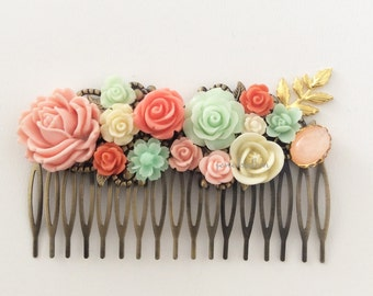 Coral Hair Comb Mint Green Wedding Headpiece Bridal Hair Slide with Gold Leaves Peach Pink Flower Rose Ivory Collage Vintage Style Modern PM