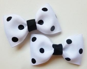 black and white polka dot hair bows--2.5 inch tuxedo--dalmation birthday party favors or halloween costume