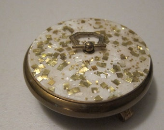 Vintage Small Round Shallow Brass Dish with White and Gold Flecks Lid and 3 Curled Legs