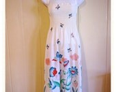 Vintage Sundress Red White Blue Flowers Plus Size XL dress shirred