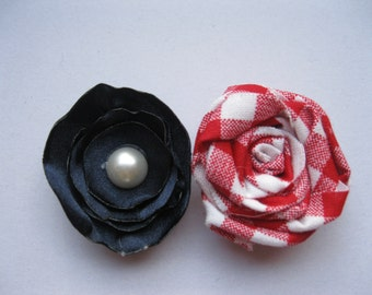Felt and Fabric Flower Hair Clip in Red White and Blue for 4th of July