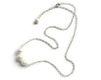 Simple Pearl Necklace on Dainty Silver Chain - Bridesmaid Gift Idea - Handmade Jewelry