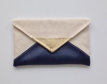 Glitter & Navy Blue Envelope Clutch