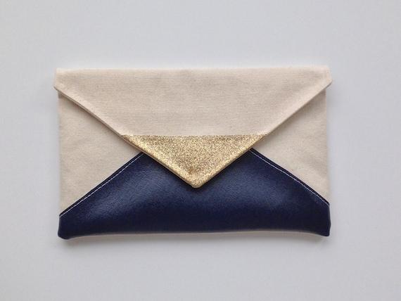 navy glitter envelope clutch glitter bridesmaid by thislovesthat. Black Bedroom Furniture Sets. Home Design Ideas
