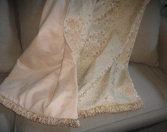 Moroccan Medallions Throw Blanket, Neutral Tones, Great Wedding Gift, Made in USA