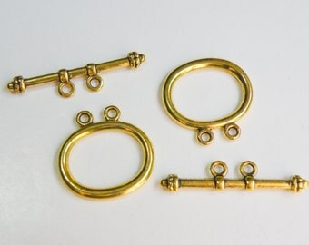 5 Multi strand simple toggle clasps 2 strand antique gold 21x21mm DB01021