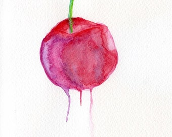 Cherry Watercolour painting // Abstract // Fruit // Food // Handmade