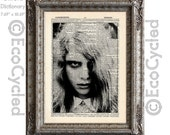 Zombie Girl from The Living Dead on Vintage Upcycled Dictionary Art Print Book Art Print Recycled Movie Monster