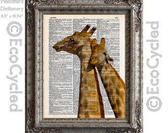Giraffes in Love on Vintage Upcycled Dictionary Art Print Book Art Print Love Romance book lover art upcycled book art romance anniversary