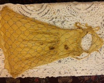 Tattered 1920's Yellow Dress  Item #203-D