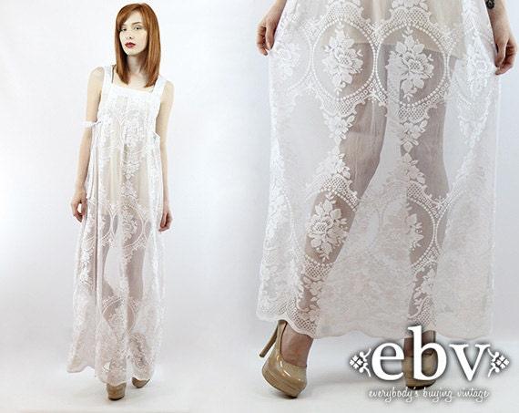 la main vintage 70 s floral dentelle maxi robe hippie mariage. Black Bedroom Furniture Sets. Home Design Ideas