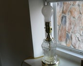 Vintage Pressed Glass 10 Inch Tall Electric Boudoir Table Lamp