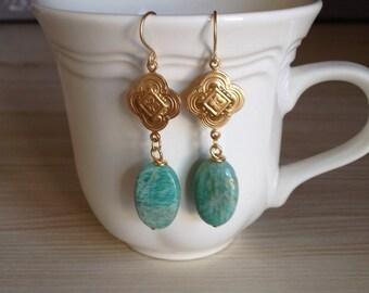 Beautiful Amazonite Dangle Earrings