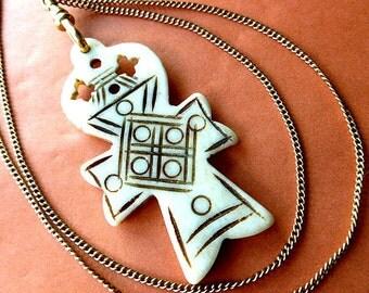 Tribal Faux Ivory Cross, Boho Cross Pendant, Cross Necklace  & Goldtone Neck Chain, Etched Vintage Cross Jewelry