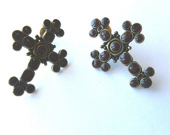 Garnet Cross Earrings, Brasstone Fleur di Lis Cross Earrings, Vintage Earrings for Pierced Ears