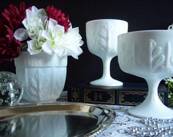 White Milk Glass Vases - Milk Glass Compote - Wedding Milk Glass - Vintage Wedding - Milk Glass Vase - Wedding Centerpiece - Wedding Vases