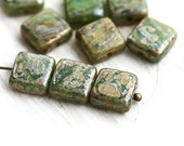 Fern Green czech glass Picasso beads, square beads, mixed color - 8mm - 15Pc - 2533