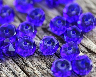Dark Blue Rondelle beads, fire polished czech glass spacers - 6x3mm - 25Pc - 1366