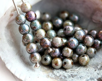 90pc Mother of pearl shine Czech beads, 4mm lustered round spacers, grey beads, druk - 2691