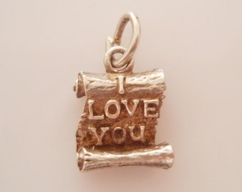 Silver I Love You Scroll or Letter Charm or Pendant